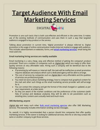 Target Audience With Email Marketing Services