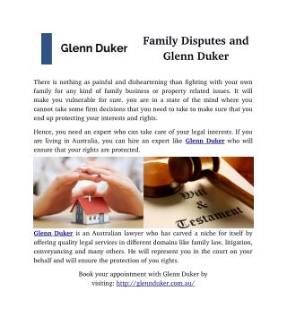 Family Disputes and Glenn Duker