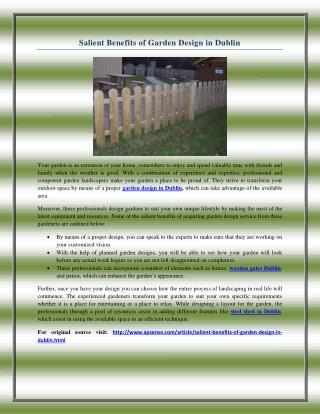 Salient Benefits of Garden Design in Dublin