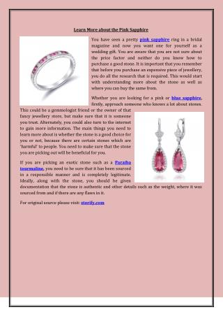 Learn More About The Pink Sapphire
