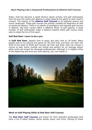 Start Playing Like a Seasoned Professional at Alberta Golf Courses