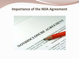 Importance of the NDA Agreement