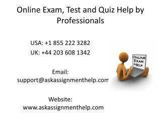 Online Exam Help | Online Test Help | Online Quiz Help