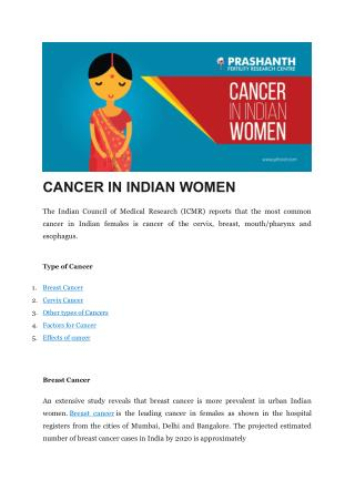 CANCER IN INDIAN WOMEN