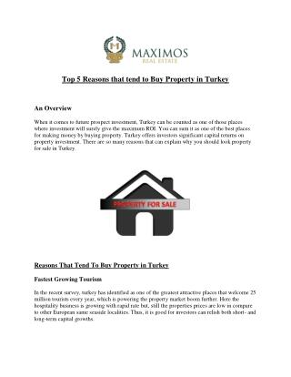 Top 5 Reasons that tend to Buy Property in Turkey