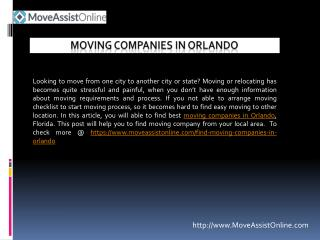 Top Utility Providers and Moving Companies in Orlando