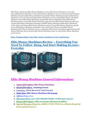 Elite Money Machines review-(MEGA) $23,500 bonus of Elite Money Machines