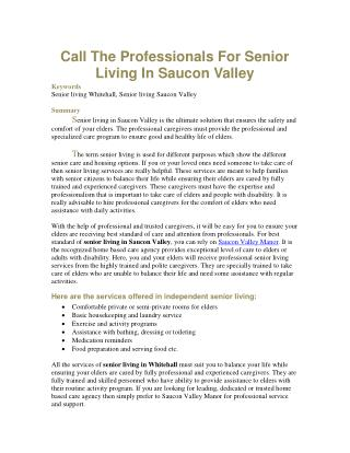 Call The Professionals For Senior Living In Saucon Valley