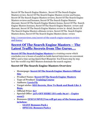 Secret Of The Search Engine Masters review- Secret Of The Search Engine Masters (MEGA) $21,400 bonus