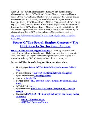 Secret Of The Search Engine Masters review - EXCLUSIVE bonus of Secret Of The Search Engine Masters