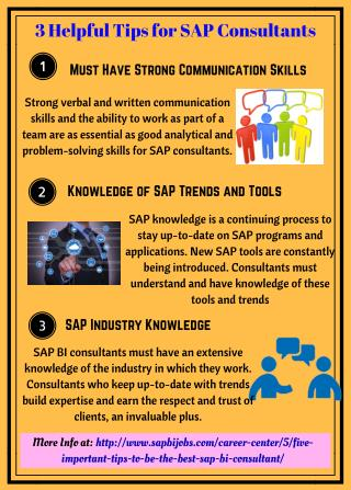 Infographic of Essential Tips for your SAP BI Career