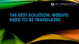 The Best Solution:WebSite Need to Be Translated