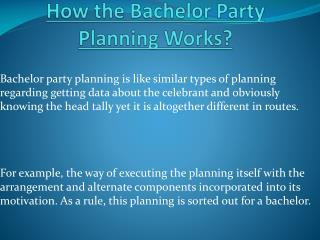How Planning of Bachelor Party Works?