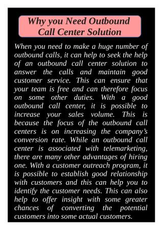 Why you Need Outbound Call Center Solution