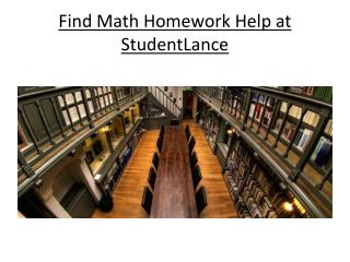 Find Math Homework Help at StudentLance