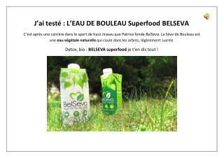 L'EAU DE BOULEAU Superfood BELSEVA