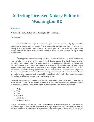 Selecting Licensed Notary Public in Washington DC