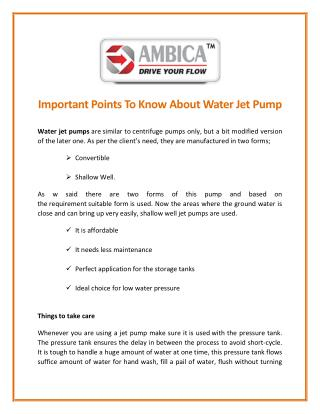 A Few Things to Know About Water Jet Pump