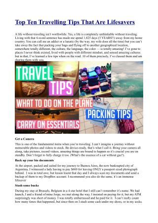 Top Ten Travelling Tips