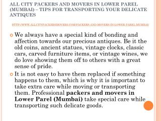 All city packers and movers in Lower Parel (Mumbai) – tips for transporting your delicate antiques