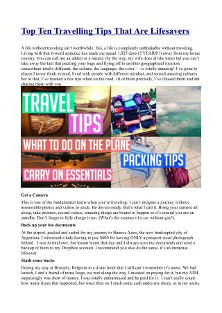 Top Ten Travelling Tips
