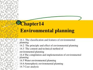 Chapter14  Environmental planning