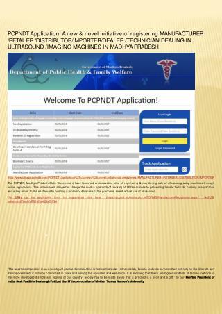 PCPNDT REGISTRATION OF MANUFACTURER _RETAILER