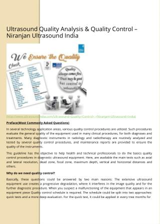 Ultrasound Quality Analysis & Quality Control – Niranjan Ultrasound India