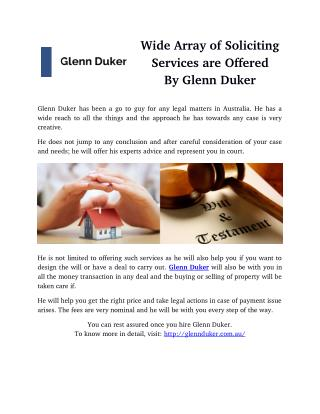 Wide Array of Soliciting Services are Offered By Glenn Duker