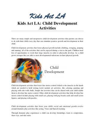 Kids Act LA: Child Development Activities