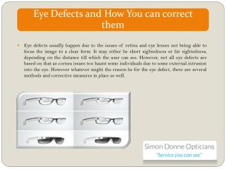 Eye Defects and How You can correct them