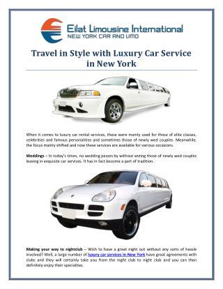 Travel in Style with Luxury Car Service in New York