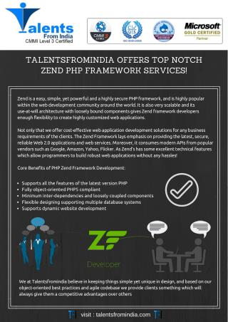 TalentsFromIndia Offers Top Notch Zend Php Framework Services