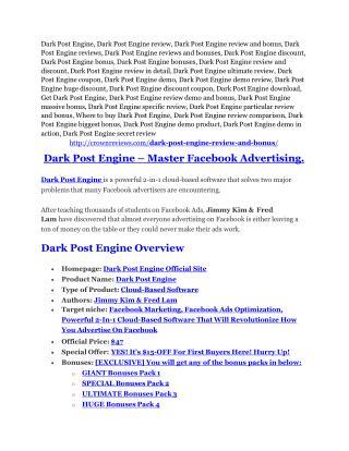 Dark Post Engine review-$26,800 bonus & discount