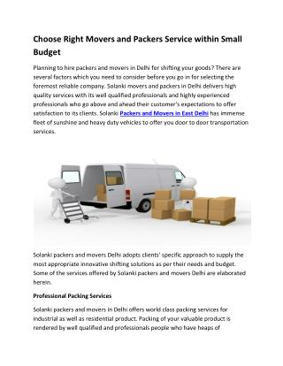 Choose Right Movers and Packers Service within Small Budget
