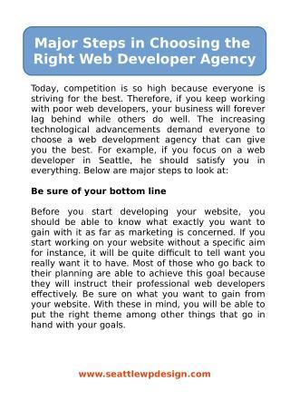 Major Steps in Choosing the Right Web Developer Agency