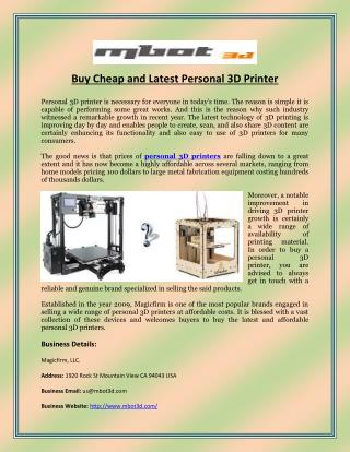 Buy Cheap and Latest Personal 3D Printer