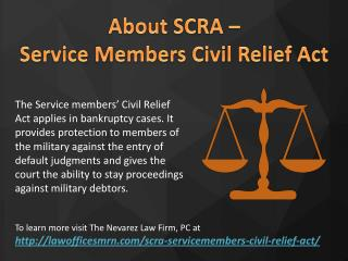 About SCRA – Servicemembers Civil Relief Act