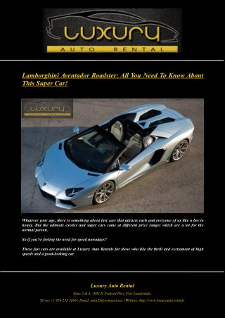 Lamborghini Aventador Roadster: All You Need To Know About This Super Car!