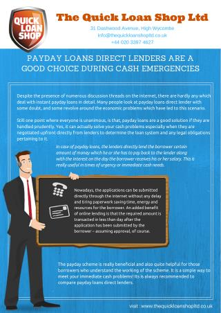 Payday Loans Direct Lenders Only Offers Instant Payday Loans Services