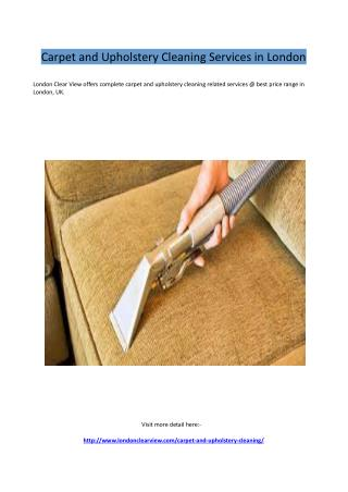 Carpet and Upholstery Cleaning Services in London