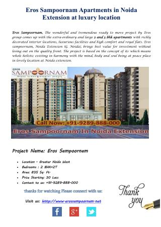 Eros Sampoornam luxury flats and 2/3 bhk Apartments at Noida Extension