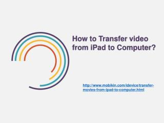 How to transfer Video from ipad to Computer