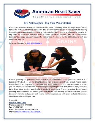 First Aid In Maryland – Help Those Who Are In Need