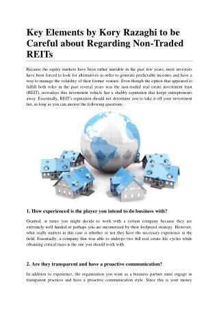 Key Elements by Kory Razaghi to be Careful about Regarding Non-Traded REITs