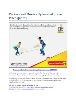 Packers and Movers Hyderabad | Free Price Quotes