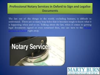 Professional Notary Services in Oxford to Sign and Legalise Documents