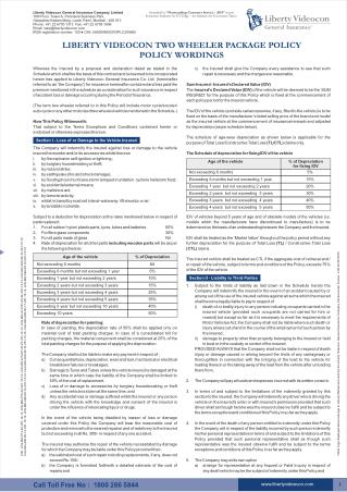 Two Wheeler Multi Year Package Policy Wording - Liberty Videocon
