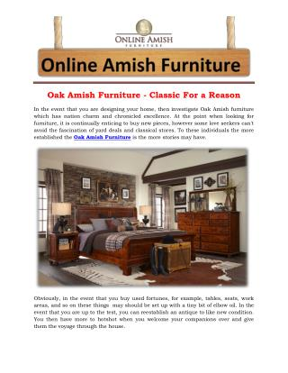 Oak Amish Furniture - Classic For a Reason