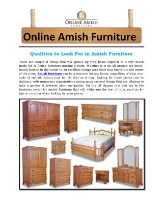 Qualities to Look For in Amish Furniture
